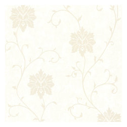 Dahli Pearl Floral Trail Wallpaper. - A cultivated pearl white wallpaper with chic suede and distresses texture effects.