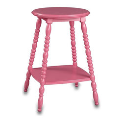 Petite Bedside Table, Bright Pink | PBteen - A sweet bedside table or a peppy pink perch to put next to your favorite reading chair. The turned-wood legs give it an added vintage vibe.