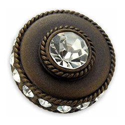 Anne At Home - Cartier Knob (Set of 10) - Hand cast and finished. Made in the USA. Pewter & Crystal with brass insert. Collection: Northern Lights. 1.125 in. L x 1.125 in. W x 1.25 in. H