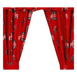 College Covers - NCAA Ohio State Buckeyes Collegiate Long Window Drapes - Features: