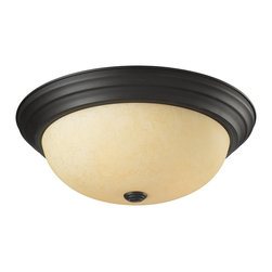 Z-Lite - Z-Lite Athena Ceiling Light X-3F5112 - This three light Ceiling Light fixture is comprised of an elegant bronze finish and paired with golden mottle glass shade. Along with its simple detailing, this fixture makes a chic addition to any room.