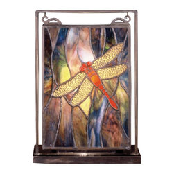 Meyda Tiffany - Meyda Tiffany Tiffany Reproductions Window Sill Tiffany Window Art in Copperfoil - Shown in picture: Tiffany Dragonfly Lighted Mini Tabletop Window; A Solitary Scarlet Dragonfly With Ruby Eyes And Filigree Wings Dives Playfully Against A Cloud Filled Aurora Midnight Sky Streaked With A Full Spectrum Of Colors. The Exceptional Stained Art Glass Used In This Family Has Unique Tones In Each Piece - Just As In Nature. Each Piece Of Glass Is Hand Cut And Copper Foiled In The Tiffany Tradition. The Window Is Encased In A Solid Brass Frame And Brass Mounting Bracket And Chains Are Included And Hangs Perfectly In It's Own Brass Tabletop Display.