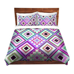 DiaNoche Designs - Duvet Cover Twill by Organic Saturation - Pastel Native Inspired - Lightweight and soft brushed twill Duvet Cover sizes Twin, Queen, King.  SHAMS NOT INCLUDED.  This duvet is designed to wash upon arrival for maximum softness.   Each duvet starts by looming the fabric and cutting to the size ordered.  The Image is printed and your Duvet Cover is meticulously sewn together with ties in each corner and a concealed zip closure.  All in the USA!!  Poly top with a Cotton Poly underside.  Dye Sublimation printing permanently adheres the ink to the material for long life and durability. Printed top, cream colored bottom, Machine Washable, Product may vary slightly from image.