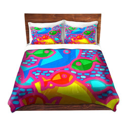 DiaNoche Designs - Duvet Cover Twill - Funky Fish - Lightweight and super soft brushed twill Duvet Cover sizes Twin, Queen, King.  This duvet is designed to wash upon arrival for maximum softness.   Each duvet starts by looming the fabric and cutting to the size ordered.  The Image is printed and your Duvet Cover is meticulously sewn together with ties in each corner and a concealed zip closure.  All in the USA!!  Poly top with a Cotton Poly underside.  Dye Sublimation printing permanently adheres the ink to the material for long life and durability. Printed top, cream colored bottom, Machine Washable, Product may vary slightly from image.