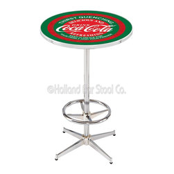 Holland Bar Stool - Holland Bar Stool L216 - 42 Inch Chrome Coca-Cola Pub Table W/ Green Accent - L216 - 42 Inch Chrome Coca-Cola Pub Table W/ Green Accent  belongs to Coca-Cola Collection by Holland Bar Stool Made for the ultimate Coca-Cola enthusiast, impress your buddies with this knockout from Holland Bar Stool. This L216 Coca-Cola table with retro inspried base provides a quality piece to for your Man Cave. You can't find a higher quality logo table on the market. The plating grade steel used to build the frame ensures it will withstand the abuse of the rowdiest of friends for years to come. The structure is triple chrome plated to ensure a rich, sleek, long lasting finish. If you're finishing your bar or game room, do it right with a table from Holland Bar Stool.  Pub Table (1)