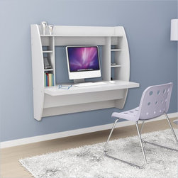 Prepac Floating Desk with Storage in White - Optimize your space with Prepac's innovative and stylish wall mounted desk.  Perfectly suited for any home office, den, living room, kitchen or entryway.  This stable work surface is perfect for your computer or simply use it as a place to get your work done.  The side compartments and top shelf provide functional storage and visual appeal. Installation is a breeze with Prepac's innovative metal hanging rail system. Proudly manufactured in North America using CARB-compliant, laminated composite wood.  Ships Ready to Assemble, includes an instruction booklet for easy assembly and has a 5-year manufacturer's limited warranty.