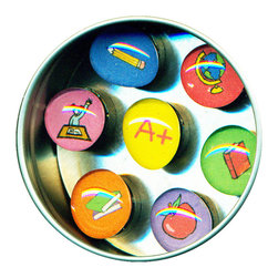 "Teacher Glass Gem Magnet Set - Handmade in our studio, our Teacher glass gem magnets start with tiny paintings which are reduced to size and reproduced. We use super strong ceramic magnets, so they're not only cute, they're functional. Each magnet is about 3/4 inch wide, the tin is 2.75"" wide. Set of 7 in a tin. Made in the USA."