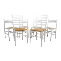 "Pre-owned Italian White Lacquered Dining Chairs - Set of 6 - A great set of 6 Italian white lacquered dining chairs with rush seats. The set consists of 4 side chairs and 2 head chairs, which are slightly taller and have rounded ends rather than the straight ends of the side chairs. The chairs are in very good condition, showing some light wear to the white lacquered finish.    Dimensions below are for the side chairs. The head chairs measure 16.75""W x 19""D x 37.75""T."