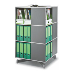 """Empire Office Solutions - Moll Spin and Store Binder Storage Carousel - Three Tier in Graphite Wood - Perfect for the corner of an office, classroom or library, this shelving column turns uniformly in a full 360° rotation and offers all-around access to books, binders and supplies. Each tier contains four 14"""" wide x 11"""" deep compartments and holds almost twice as many binders and books per level as a traditional 27"""" wide bookcase shelf."""