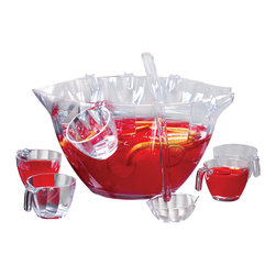 PRODYNE - Illusions Punch Salad Bowl 12-Piece Set - Punch just isn't the same served out of anything but a nice big punch bowl. This wavy, crystal-clear acrylic bowl comes with a long-handled server and pretty little cups that show off your favorite punch concoction. When it's not punch-drinking season, use the bowl to serve your favorite big salads or pasta dishes.