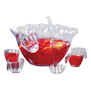 PRODYNE - Illusions 12-Piece Punch/Salad Bowl Set - Punch just isn't the same served out of anything but a nice big punch bowl. This wavy, crystal-clear acrylic bowl comes with a long-handled server and pretty little cups that show off your favorite punch concoction. When it's not punch-drinking season, use the bowl to serve your favorite big salads or pasta dishes.