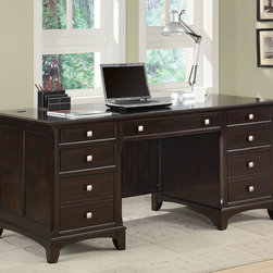 Coaster - Coaster Garson Desk - The Garson home office group features storage drawers and file cabinets to keep you organized and productive. Finished in a rich cappuccino and brushed nickle drawer pulls. Drawers feature smooth drawer glides  hutch comes with task light and wire managem