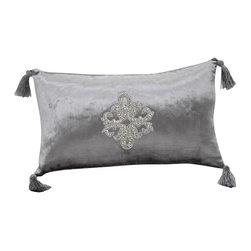VIG - Modrest Silver Faux Crystal Throw Pillow, Silver - Modrest Silver Faux Crystal Throw Pillow