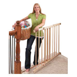 Evenflo - Evenflo Top of Stair Extra Tall Gate - Protect your family from falls while seamlessly keeping the sophistication of your decor with this sleek gate with a natural wood finish. This simple, one-handed latching gate is easily installed with the included four-point hardware mounting.