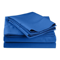 "Cotton Rich 600 Thread Count Twin XL Hemstitch Sheet Set - Blue - Surround yourself in the classic elegance of Impressions Hem Stitch sheet set. This design features hem stitching which is a classic method used to put two pieces of fabric together using a an insertion stitch to give off the appearance of lace. Set includes (1) Fitted Sheet 39""x80"", (1) Flat Sheet 66""x100"", and (1) Pillowcase 20""x30""."
