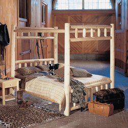 Rustic Cedar - Canopy Four Poster Bed - Add warmth and charm to your home or retreat with these cedar log beds. Each bed comes complete with headboard, footboard, and side rails. Note: All Rustic beds come with a headboard, footboard, and side rails. At an additional cost, metal support systems for double, queen, and king beds are available. King beds will NOT support California king mattresses or box springs. Bed dimensions are outside-to-outside, and may vary due to log size. Features: -Comes with headboard, footboard, and side rails.-Dimensions are outside-to-outside, and may vary due to log size.-8'' clearance under bed.-King size will ship truck freight.-About Cedar Cedar is the natural choice because of its beauty, practicality and durability. Rustic Cedar uses only the finest cedar to create furniture that lasts for generations. It is naturally resistant to decay, insect and weather damage. Because of this superior resistance, cedar is frequently used for outdoor fencing, and siding on homes. Cedar has an exceptionally high strength-to-weight ratio, which means that it is both durable and easy to move about. It does not shrink or wrap as many other woods commonly do. Unlike pressure-treated wood furniture, Rustic Cedar uses no chemical preservatives that may be harmful to your family's health. All cedar log furniture is subject tothe natural process of checking as the wood ''seasons.'' Checking occurs as wood releases moisture across or through the annual growth rings and it does not affect the structural performance or integrity of the wood. Therefore cracks in Cedar furniture are quite normal and can happen at any time. The cracks can vary in sizes but are sure to not affect the quality or resistance of the product as this is a natural process of Cedar furniture..-Needs a box spring or support system.-Distressed: No.-Country of Manufacture: Canada.Warranty: -Manufacturer's 5 year limited warranty. About the Manufacturer: About Rustic Cedar Furniture Crafted with care in Quebec and Brit'sh Columbia, Rustic Cedar's long-lasting good looks, low maintenance, beauty, and comfort make it both the natural and logical choice for fine home and garden furnishings. Northern White Cedar's beauty, practicality, and durability prove it to be a superior choice for furniture. When left in the sun, its creamy white color gracefully weathers to a silvery gray. The Western Red Cedar found in the Arbors and Garden items likewise naturally ages from its rusty red to Rustic Cedar's characteristic gray. All Rustic Cedar items may be used indoors or out, and may be painted or stained as desired. Cedar's lightweight nature and beauty is deceiving. This wood's durability naturally resists the decay, insect damage, shrinkage, and warping experienced by other furniture and garden materials making Rustic Cedar an ideal choice.