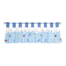 Trend Lab - Dr. Seuss One Fish Two Fish Window Valance - Why not go all the way? and complete your babys nursery with this wonderful accessory? The Dr. Seuss One Fish Two Fish - Window Valance by Trend Lab features 9 ultrasuede tabs at the top that allow for easy hanging. Measures 53 in x 15 in and fits a standard size window. Care instructions - Machine wash cold with like colors; Gentle cycle; Do not bleach; Tumble dry low or line dry; Do not dry clean; Do not iron.