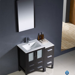 "Fresca - Fresca Torino 36"" Single Sink Vanity Set w/ Side Cabinet & Integrated Sinks - Fresca is pleased to usher in a new age of customization with the introduction of its Torino line. The frosted glass panels of the doors balance out the sleek and modern lines of Torino, making it fit perfectly in either 'Town' or 'Country' decor. Available in the rich finishes of Espresso, Glossy White, Light Oak and Walnut Brown, all of the vanities in the Torino line come with either a ceramic vessel bowl or the option of a sleek modern ceramic integrated sink."