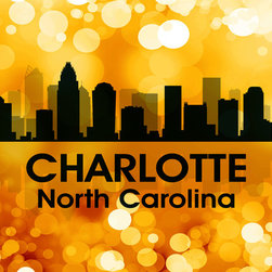 "Charlotte Golden Bokeh Print - Show off your Charlotte pride with this mixed-media artwork. Combining digital and photographic layers, it captures all the charm of the Queen City known as ""the thrill capital of the Southeast"" thanks to the Carowinds amusement park."