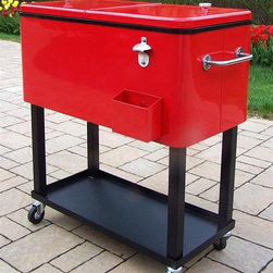 Oakland Living - Steel 80 qt. Patio Cooler w Cart in Red - Coo - Made of Durable Steel Construction. Two of the wheels have locks for safety. Comes with bottle opener and cap catch. Has a rear drain for easy clean up. Easy to follow assembly instructions and product care information. Stainless steel or brass assembly hardware. Fade, chip and crack resistant. 1 year limited. Hardened powder coat finish in Red for years of beauty. Red finish. Some assembly required. 36 in. W x 17.5 in. L x 36 in. H (46 lbs.)This patio cooler cart will be a beautiful addition to your patio, back yard or outdoor entertainment area. Adds beauty, style and functionality. Our patio cooler carts are perfect for any small space, or to accent a larger space.
