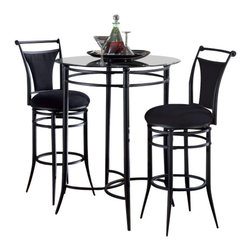 Hillsdale Furniture - Hillsdale Mix-N-Match 3-Piece Pub Table Set with Cierra Stools in Black - The Mix-N-Match bistro set is both contemporary and versatile. Available in black metal with a glass top and 6 choices of matching stools.