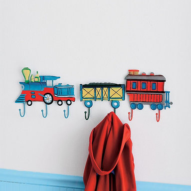 Vintage Train Wall Hooks - This vintage-inspired train wall hook set helps keep things off of the floor and helps your child gain independence by hanging things on his own. Not to mention the touch of color and choo choo fun this adds to a train-infused space.