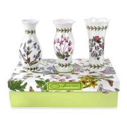 Portmeirion - Portmeirion Botanic Garden 5-Inch Mini Vases (Set of 3) - Bring the garden to your home! This mix and match ceramic pattern featuring various flowers from the botanical world is tied together with a distinctive leaf border and colorful butterflies.