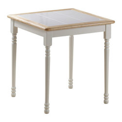 "Boraam - Boraam 30""x30"" Square Tile Top Table in White/Natural - 30""x30"" Square Tile Top Table in White/Natural by Boraam This classically chic dinette table never goes out of style! Design your room around this table or enjoy the easiness of emerging it with your current interior style. Do notice the evenly laid ceramic tiles on the table top; this allows for easy clean-up! The perfectly square table top leaves you with endless opportunities when searching for a proper place for it in your home; kitchen, dining area, den, screened-in porch, office, bedroom, wherever you desire! Available in two delectable color finishes. While you're at it, pair this table with Boraam's Farmhouse chairs!"