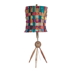 Contemporary Recycled Woven Lamp - A playful and vibrant mashup of recycled kantha-embroidered fabric makes this lamp's shade a unique work of art. And with a base made of recycled wooden rolling pins, it's a quirky cool way to inject a little East Indian flair to your space.