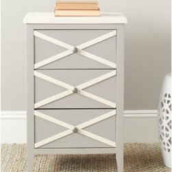 Safavieh Sherrilyn 3 Drawer Side Table - The sweet look and unique design of the Safavieh Sherrilyn 3 Drawer Side Table makes it a charming accent piece whether your style is traditional or more modern. Three drawers provide ample storage for tucking items out of sight. Available in green, gray, light blue, or white. Light blue, green, and gray options include white contrasting top and accents.About SafaviehConsidered the authority on fine quality, craftsmanship, and style since their inception in 1914, Safavieh is most successful in the home furnishings industry thanks to their talent for combining high tech with high touch. For four generations, the family behind the Safavieh brand has dedicated its talents and resources to providing uncompromising quality. They hold the durability, beauty, and artistry of their handmade rugs, well-crafted furniture, and decorative accents in the highest regard. That's why they focus their efforts on developing the highest quality products to suit the broadest range of budgets. Their mission is perpetuate the interior furnishings craft and lead with innovation while preserving centuries-old traditions in categories from antique reproductions to fashion-forward contemporary trends.