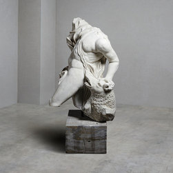 Italian Marble Dionysius Acefalo - This stunning Italian Marble statue of Dionysius is superbly sculpted and captures the Greek God of wine's astonishingly powerful anatomy.