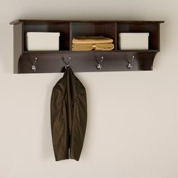 Prepac Fremont Espresso Entryway Cubbie Shelf and Coat Rack - Enter, style and versatility. The Fremont Entryway Shelf offers practical, everyday storage and a simple yet sophisticated look. Made of highly durable, laminated wood composite, this entryway shelf comes in an inviting espresso finish to complement your decor. Perfect for any front hallway, bedroom, or home office, this entryway shelf offers three open compartments for convenient and attractive storage. Four large metal hooks accommodate coats, jackets, scarves, hats, and bags. Assembly is easy with the two-piece hanging rail system. Dimensions: 48W x 11.5D x 16.5H inches. For a coordinated look, add the matching Fremont Cubbie Bench (not included).About Prepac ManufacturingPrepac is a successful designer and manufacturer of functional and stylish RTA (ready to assemble) home furniture. They have been manufacturing state-of-the-art home furnishings and storage products in the heart of the forest-rich West Coast since 1979.To ensure that customers receive the highest quality products, Prepac's design, engineering, production, testing and packaging are all performed in-house. Each component of every product is carefully engineered to be produced with minimal handling, without compromising quality, function and value. Prepac's state-of-the-art materials management system tracks every component from cutting through to packaged goods, inventory support, and fulfillment to final delivery.Most of Prepac's RTA products are made from a combination of engineered woods. Engineered Wood is a mixture of high quality hard and soft wood materials, which generally come from the surplus of original lumber processing. These materials are bonded together with a synthetic resin, in a process under high heat and pressure to make a very stable, environmentally friendly product. The result is dense, strong panels, which are then laminated with durable, attractive finishes.