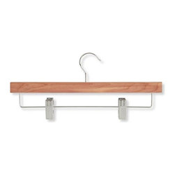 Honey Can Do - Cedar Skirt and Pant Hanger with Clips - Pack - Beautiful cedar finish instantly upgrades any closet. 360 degree swivel rod hook. Adjustable clips accommodate a variety of garments. 13.75 in. L x 0.48 in. W x 6.35 in. H (1.018 lbs.)Honey-Can-Do HNG-01535 Skirt/Pant Hangers With Clips, Cedar, 4-Pack. Natural cedar makes a great addition to any closet space. This straight skirt and pant hanger features sturdy, steel clips with protective grips to keep your garments securely in place and wrinkle-free. Clips are adjustable to accommodate a variety of sizes and styles. Features a 360 degree swivel rod hook to hang items easily on any closet rod, towel bar, or coordinating top hanger. A beautiful upgrade for any closet.