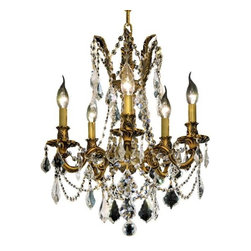 """PWG Lighting / Lighting By Pecaso - Reynard 5-Light 18"""" Crystal Chandelier 7825D18FG-SA - Elegant lighting for gracious living, Reynard Crystal Chandeliers are a lustrous departure in crystal design. Beginning with the solid brass sculptured and finely detailed frame, this series may be dressed in a choice of extraordinarily clear or colored crystal prisms."""
