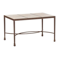 Landgrave - Landgrave Cast Aluminum 24 x 36 Tile Top Rectangular Stone End Table - Woodard-Landgrave offers traditional and classical styles in lighter weight durable cast aluminum. Using the highest grade ingots Woodard-Landgrave cast aluminum patio furniture possesses an excellent balance of Resilience and design.  Landgrave's patio furniture collections are generally evocative of classic European designs. With collections inspired by the grandeur of the French Greek and Roman empires Landgrave furniture adds a level of sophistication to your patio. Features include Beautiful and elegant cast aluminum material Extremely durable high quality material cast aluminum is a long term investment into your patio furniture Suitable for any outdoor use Available in various finishes Rectangular shape Stone table top.