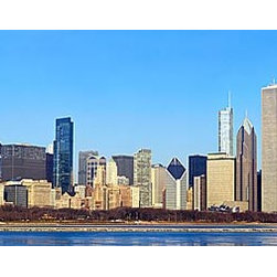 Magic Murals - Chicago Cityscape Panorama Wall Mural -- Self-Adhesive Wallpaper by MagicMurals - A brilliant view of Chicago's downtown skyscrapers taken from across Lake Michigan.   The skyline is filled with contemporary buildings, most visible of which is the old Sears Tower, now known as Willis Tower.