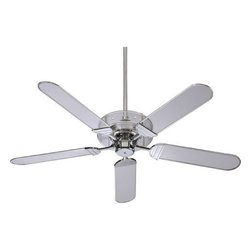 """Quorum International - Quorum International 400525-14 Clear Acrylic / Chrome Prizzm Art Deco - The Prizzm Indoor Ceiling Fan  Lifetime Motor Warranty  Five Blades, 52"""" Blade Sweep  13-Degree Blade Pitch  80"""" of Lead Wire  6"""" Downrod Included  172 x 14 Motor Size  3 Speeds-Reversible  156/100/60 RPMS on H/M/L  Remote Control Adaptable"""