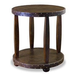 Kathy Kuo Home - Hobro Leather & Brass Nail Head Rustic Lodge Side Table - Exotic yet refined, eclectic yet classic, this Indian table is full of the contrasts and diverse references typical of the subcontinent.  Delivers rustic character and global attitude to any room with charm and ease.