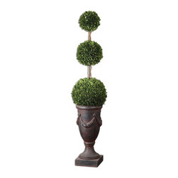Uttermost - Triple Topiary Preserved Boxwood - Towering On Natural Dragon Willow Branches In An Aged Black Urn With Rust Brown Wash. Preserved While Freshly Picked, Natural Evergreen Foliage Looks And Feels Like Living Boxwood.