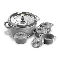 Staub Round Dutch Oven With 4 Bonus Mini Cocottes - These graphite ovens will blend beautifully with mixers and appliances that are the same color.