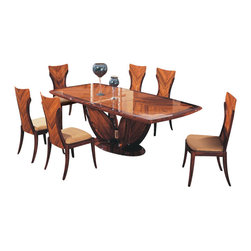 Global Furniture USA - D52 + D52DC Brown Natural Veneer Finish Five Piece Dining Set - The D52 Dining Set has the elegance and aesthetics of the Art Deco style that works well in any decor. The high gloss varnish smooth curves and surfaces add perfection to the rich wood character. The chairs come in a matching finish and are upholstered in a beige fabric. This table is the perfect addition for any modern dining room space.