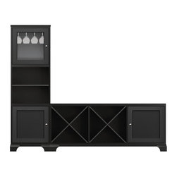Howard Miller Custom - Hanna cabinet w 3 Shelves in Antique Black - This cabinet is finished in Antique Black on select Hardwoods, and Veneers, with Nickel hardware. Console:. 1 door with inset panel and 2 cross storage shelves. 1 adjustable interior shelf. Tower:. 1 door with plain Glass and 1 inset panel door. 2 adjustable interior shelves and 1 stemware rack. Flat profile top on tower, flat profile top on console and cove profile base. Hardware: knobs on doors. Features soft-close doors and metal shelf clips. Simple assembly required. Console: 70 3/4 in. W x 16 in. D x 29 1/2 in. H. Tower: 24 1/2 in. W x 77 1/4 in. H x 16 in. H
