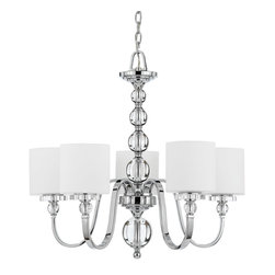 Quoizel - Quoizel DW5005C Downtown 5 Light Chandeliers in Polished Chrome - Cool, sleek sophistication is written all over this design. Gleaming glass ball accents complement the opal etched glass drum shade and shiny chrome finish, bringing a soft modern sensibility to your home.