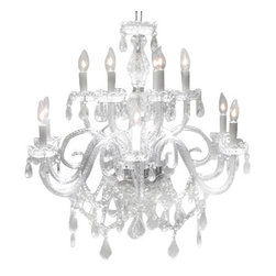 "The Gallery - CHANDELIER LIGHTING CRYSTAL CHANDELIERS H27"" x W32"" - A Great European Tradition. Nothing is quite as elegant as the fine crystal chandeliers that gave sparkle to brilliant evenings at palaces and manor houses across Europe. This beautiful crystal chandelier is decorated with 100% crystal that capture and reflect the light of the candle bulbs, each resting in a scalloped bobache.The timeless elegance of this chandelier is sure to lend a special atmosphere in every home! SIZE:H.27"" X W.32"" 12 LIGHTS / 2 TIERS assembly required."
