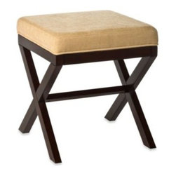"Hillsdale - Hillsdale Morgan ""X"" Backless Vanity Stool - The Morgan ""X""-shaped vanity stool is a lovely and practical addition to your bed, bath or walk-in closet. The hardwood construction has a rich espresso finish, and a soft neutral-colored fabric covers the seat."