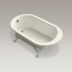 """KOHLER - KOHLER Iron Works(R) Historic 66"""" x 36"""" freestanding oval bath with reversible d - This freestanding cast iron bath features ornate ball-and-claw feet for an antique-inspired look, enhanced by the modern comforts of built-in back support and a slip-resistant bottom. The classic curves of the Iron Works bath make it the perfect addition"""
