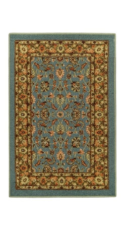 None - Rubber Back Ocean Blue Traditional Floral Non-Slip Door Mat Rug (1'6 x 2'6) - This affordable and fashionable rubber back ocean blue traditional floral non-slip door mat is a great way to set a color theme in the home.