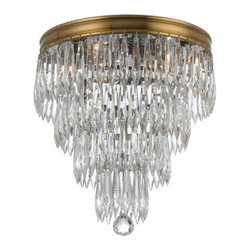 Crystorama - Crystorama 125-AG Chloe 3 Light Flush Mounts in Aged Brass - The clear crystal accents that adorn the brass banding compliment this antique inspired series to give the Chloe Collection a fashion forward flare.