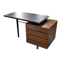 EcoFirstArt - Beautiful Lady Desk ca. 1960 - This wonderful desk is finished in walnut veneer. It has beautiful style and nice shape, all drawers stay closed by closing upper drawer. The desk is detachable, top, black wooden leg, metal tube and drawers box. Solid wood with walnut veneer, top covered with black vinyl. Black painted leg is connected to the drawers box by a metal tube The style is De Stijl. The shapes of his designed furniture are subtly simple and clear. In each of his pieces of furniture combines logic, balance, unity, harmony, rhythm, charisma and intellectual wit. In a synthesis of architecture, art and commerce refers Veranneman his inspirations from all over the world and integrated them into his own personal style.More recent works show a minimalist purism in its reduction to a defining decorative line and a dark, almost monochromatic color scheme.
