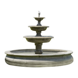 Campania - Newport Garden Water Fountain, Ferro Rustico - This incredible water fountain is perfect for use in parks or large properties. This fountain is a great way to turn your large acreage into a relaxing environment. The Newport Garden Fountain is the perfect way to take up some of that space and replace it with something truly beneficial to you and your family. This fountain would even be a great way to spruce up your business entrance, making it more warm and inviting.